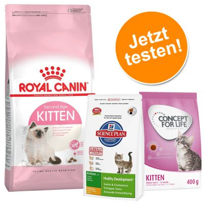2 kg Royal Canin Kitten 36 + 400 g Concept for Life und Hill's