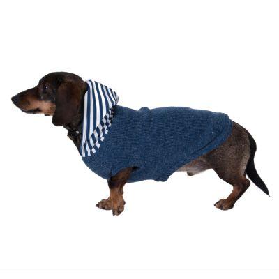 Maglioncino con cappuccio a righe per cani