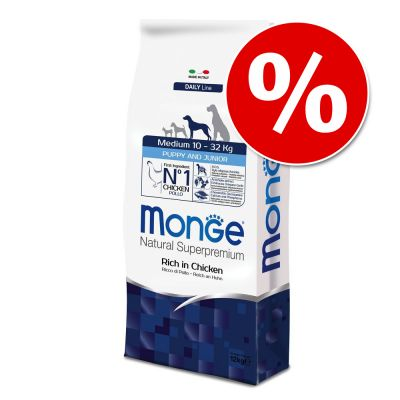 Prezzo speciale! 3 kg Monge Superpremium Puppy Junior Medium