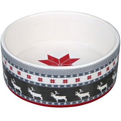 Trixie Winter Keramiknapf, grau/rot/weiß