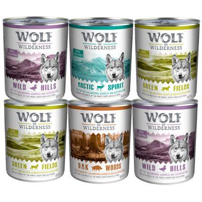 Wolf of Wilderness Adult 12 kg Trockenfutter + 6 x 400 g / 6 x 800 g Nassfutter